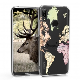 KW TPU Silicone Case Huawei Y6 2019 - World Map Travel - Black / Multicolor / Transparent (48121.07)