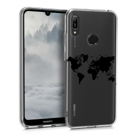KW TPU Silicone Case Huawei Y6 2019 - World Map Black / Transparent (48121.05)