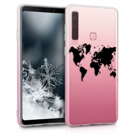 KW TPU Silicone Case Samsung Galaxy A9 2018 - World Map Black / Transparent (46580.03)