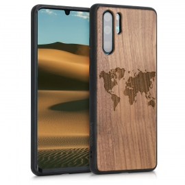 KW Wooden Case TPU bumper Huawei P30 Pro - Travel Outline Dark Brown (47425.03)