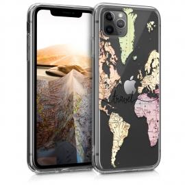 KW TPU Silicone Case iPhone 11 Pro Max - World Map Travel - Black / Multicolor / Transparent  (49794.02)