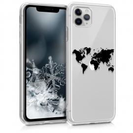 KW TPU Silicone Case iPhone 11 Pro Max - Design Travel - Black / Transparent (49794.01)