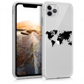 KW TPU Silicone Case iPhone 11 Pro - Design Travel - Black / Transparent (49792.01)