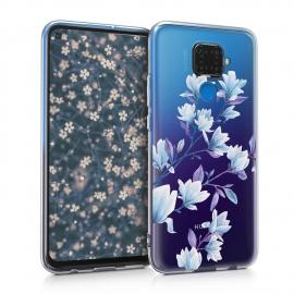 KW TPU Silicone Case Huawei Mate 30 Lite - Magnolias Blue / Violet / Transparent (50133.09)