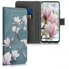 KW Wallet Case Huawei Mate 30 Lite - Magnolias Taupe / White / Blue Grey (50148.02)