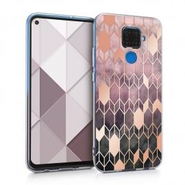 KW TPU Silicone Case Huawei Mate 30 Lite - IMD Design Dark Pink / Rose Gold (50165.03)