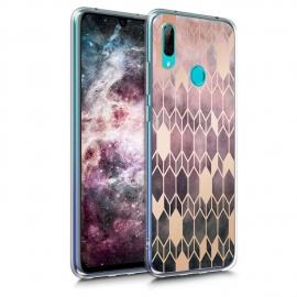 KW TPU Silicone Case Huawei Y7 2019 - IMD Design Dark Pink / Rose Gold (48936.02)