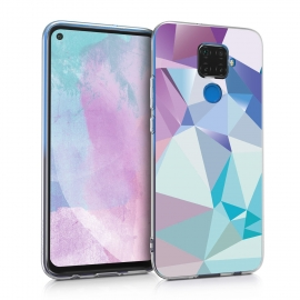 KW TPU Silicone Case Huawei Mate 30 Lite - 3D Triangles Light Blue / Light Pink / Blue (50165.01)