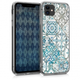 KW TPU Silicone Case Apple iPhone 11 - Moroccan Vibes in Monochrome Blue / Grey / White (49785.09)