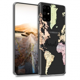 KW TPU Silicone Case Samsung Galaxy S20 Plus - World Map Travel - Black / Multicolor / Transparent (51218.02)