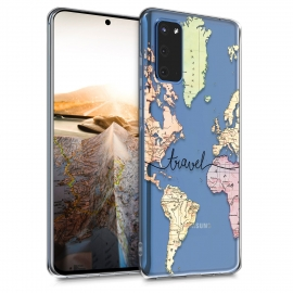 KW TPU Silicone Case Samsung Galaxy S20 - World Map Travel - Black / Multicolor / Transparent (51234.01)