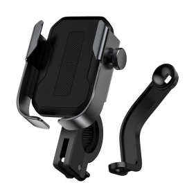 Baseus adjustable phone bike mount holder for handlebar and mirror - Black (SUKJA-01)