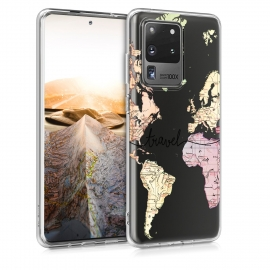 KW TPU Silicone Case Samsung Galaxy S20 Ultra - World Map Travel (51228.02)