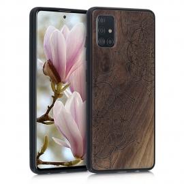 KW Wooden Case Samsung Galaxy A51 - Flower Twins Dark Brown (51432.03)