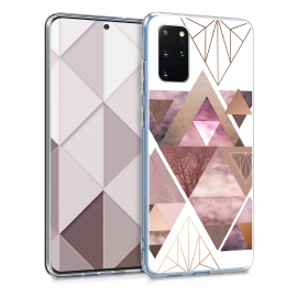 KW TPU Silicone Case Samsung Galaxy S20 Plus - Patchwork Triangles Light Pink / Rose Gold / White (51219.02)