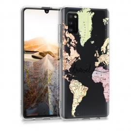 KW TPU Silicone Case Samsung Galaxy A41 - World Map Travel (52256.02)