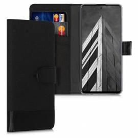 KW Fabric / PU Leather Wallet Case Samsung Galaxy A71 - Anthracite / Black (51206.73)