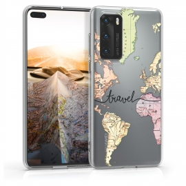 KW TPU Silicone Case Huawei P40 - Travel Black / Multicolor / Transparent (52162.01)