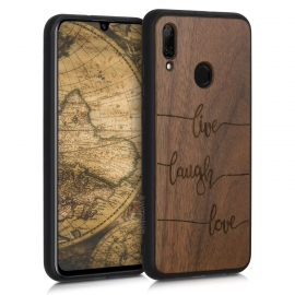 KW Wooden Case Huawei P Smart 2019 - Live, Laugh, Love Dark Brown (48117.16)