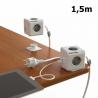Allocacoc PowerCube Extended USB 5-Outlets/1.5m Cable + 2 x USB 2.1A - Grey (1406GY/DEEUPC)