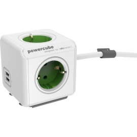 Allocacoc PowerCube Extended USB 5-Outlets/1.5m Cable + 2 x USB 2.1A - Green (1406GN/DEEUPC)