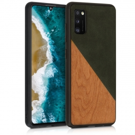 KW Wooden & PU Leather Case Samsung Galaxy A41 - Two-Tone Wood Dark Green / Brown (52370.01)