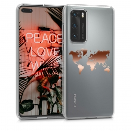 KW Crystal TPU Case Huawei P40 - Travel Outline Rose Gold / Transparent (50894.03)