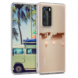 KW Crystal TPU Case Huawei P40 Pro - Travel Outline Rose Gold / Transparent (50893.03)